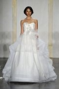 Strapless Applique Ruffle Organza Wedding Dress