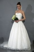 A-line Strapless Chapel Train Lace Wedding Dress