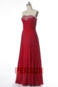 Strapless Beaded Pleated Long Chiffon Bridesmaid Dress