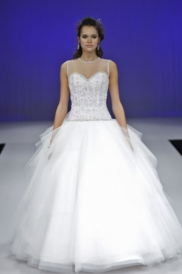Lace Beaded Court Train Ball Gown Wedding Dress