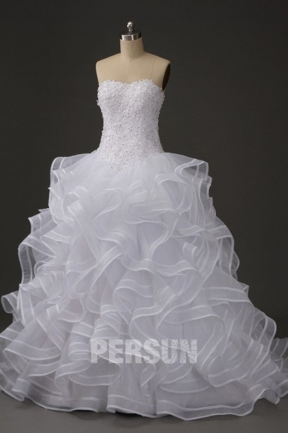 Lace up Ruffle Strapless Court Train Wedding Dress