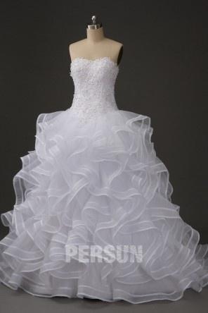 Robe de mariée sans bretelle ruchée à traîne Court en dentelle