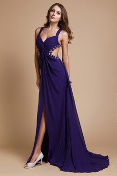 Cotgrave Purple Sweetheart Straps Split Prom Dress