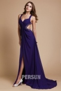 New Beaded Sweetheart Straps Chiffon A line Evening Dress