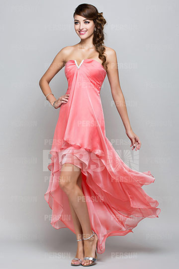 2015 New A line Strapless Sweetheart High Low Prom / Evening Dress