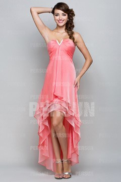 Cramlington Red High low Coral Summer Prom dress