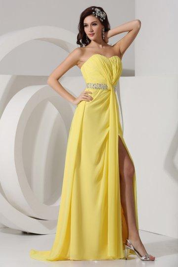 Robe fendue pouir soirée mariage à bustier coeur en mousseline jaune