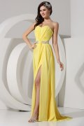 Latest Pleats Split Front Strapless Chiffon Sheath School Formal Dress