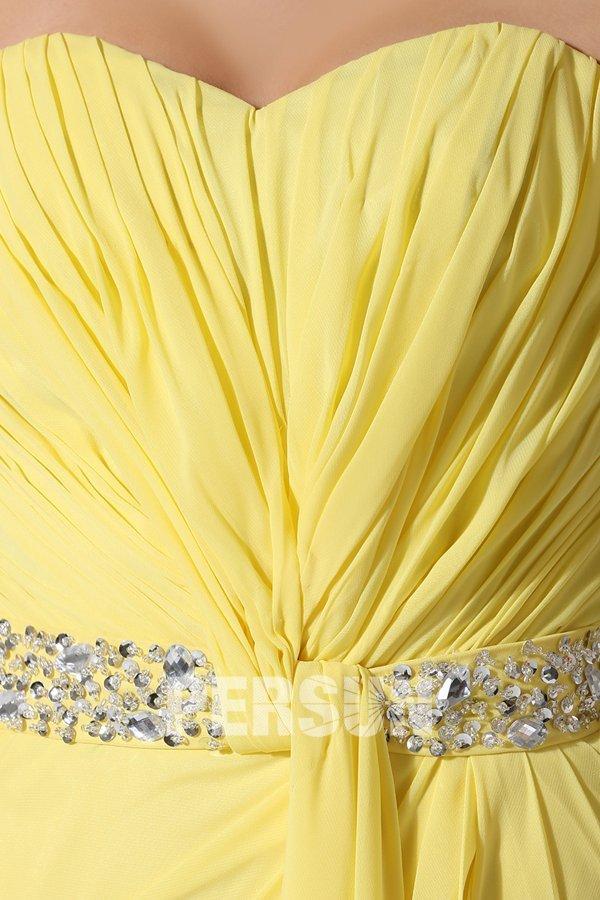 Robe fendue à bustier coeur en mousseline jaune