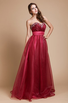 Crayford Red Strapless High Waist Prom Dress