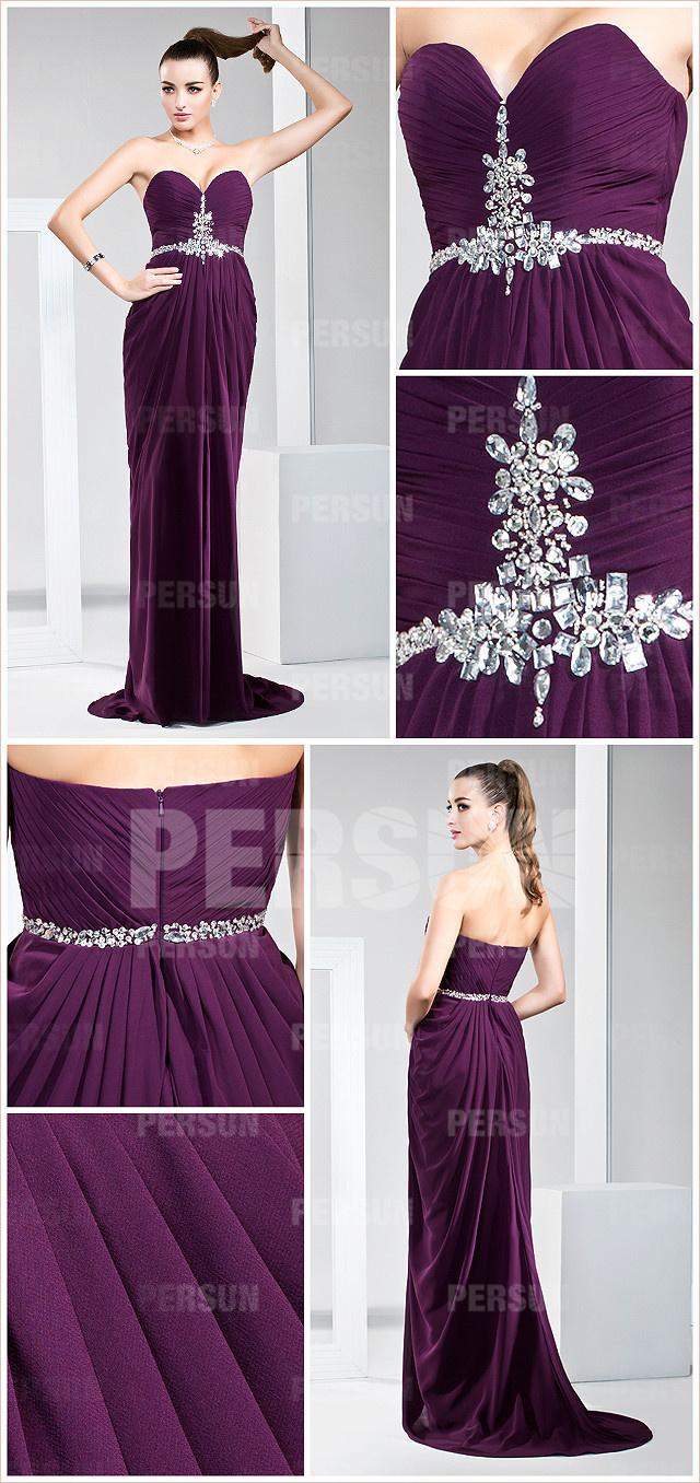 robe soirée en couleur raisin strass ornée