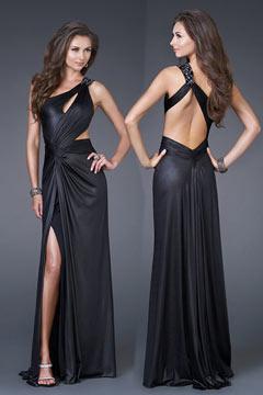 Crewe Keyhole Black Pleats Slit Front Prom dress