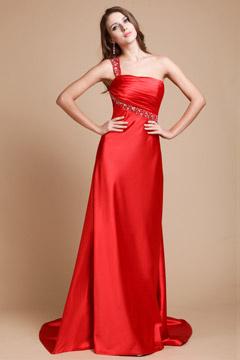 Brillante Vestido de Noche Tirante Único Satén Elástico
