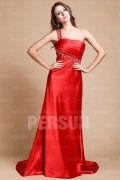 Beading One Shoulder Elastic Satin Sheath Evening Dress