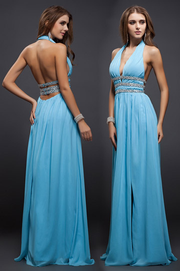 Dressesmall New Beading V neck Halter Chiffon A line Evening Dress