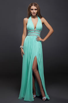 Cuckfield Blue V neck Halter Slit Front Prom Dress
