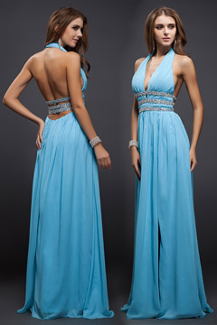 New Beading V neck Halter Chiffon A line Evening Dress