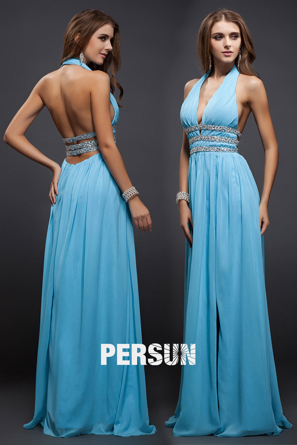 charming Beading V neck Halter bacless azury blue Chiffon A line Evening fomal prom Dress