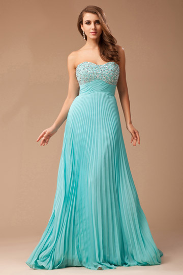 2013 Strapless Pleated Beaded Prom Dress