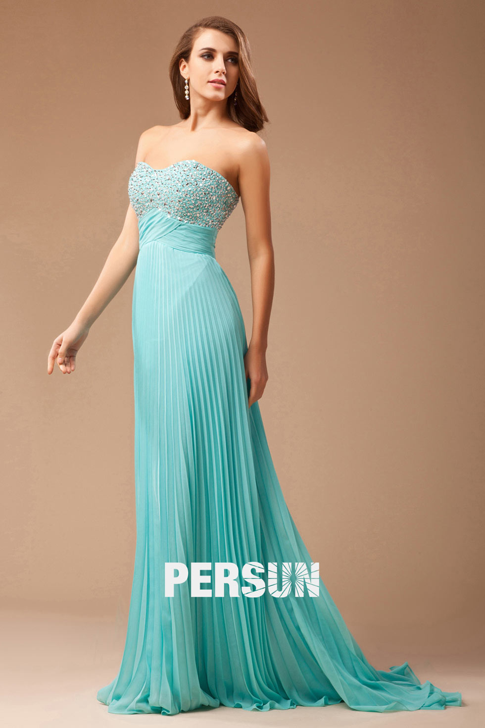 elegnat Strapless Pleated Beaded blue Prom / Evening Dress