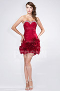 2014 New Sweetheart strapless Ruching Beading Taffeta Prom / Cocktail Dress