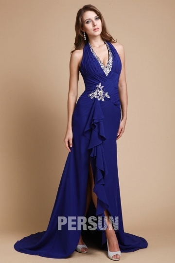 2014 New V-neck Halter Slit Front Sheath Prom / Evening Dress