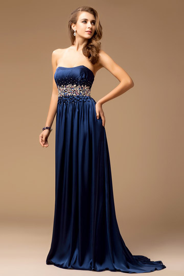 Strapless High Waist Beading A-line Satin Evening Dress