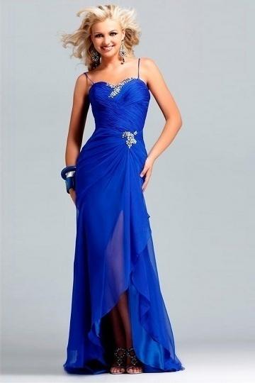 Sexy Blaues Herz Ausschnitt Etui Linie Pinsel Abendkleid aus Chiffon Persunshop
