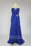 Blue Beaded Slit Front Sweetheart Prom Dress