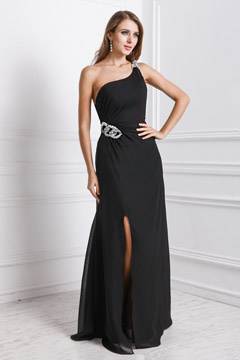 Devizes Black One Shoulder Split Front Evening Gown