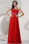 Strapless High Waist Beading A-line Chiffon Prom Dress