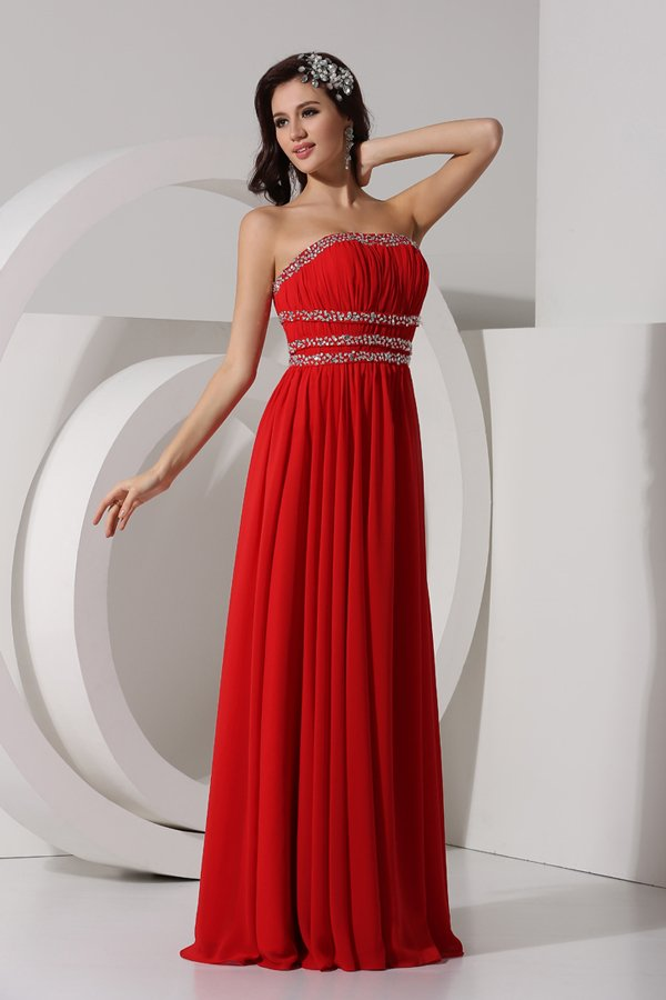 Simple robe empire rouge bustier plissé & strassé en mousseline