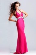 Low V-neck Halter High Waist Fuchsia Prom/Evening Dress