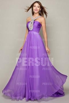 Sexy Keyhole Halter Chiffon Floor Length Purple Prom Dress