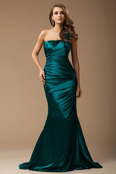 Dorchester One Shoulder Floral Green Wrap Mermaid Evening Gown