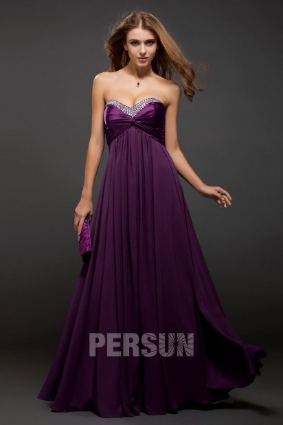 A-line Sweetheart Empire Chiffon Long Prom Dress