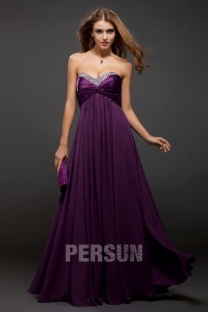 Sweetheart Chiffon Long Purple Cheap Prom Dress UK