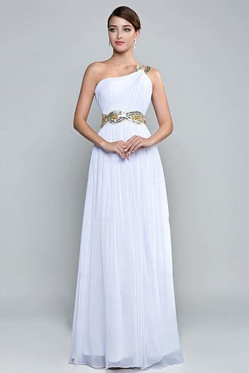 A Linie Ein Schulter Schlitz weißes Abendkleid mit Perlen verziert Persunshop