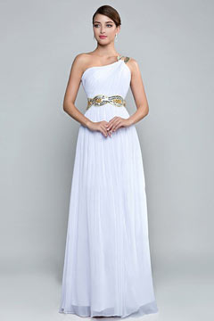A Line One Shoulder Beaded Slit White Formal Dress