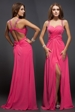 Spaghetti Straps Cut Out Sweetheart Side Slit Pink Prom Dress