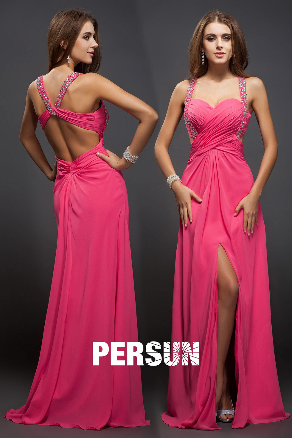 Spaghetti Strap Sweetheart Slit fuchsia sexy pleated train Prom / Evening Dress