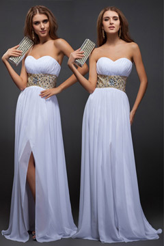 Sexy Beaded Split Front Sweetheart Strapless Chiffon Formal Bridesmaid Dress