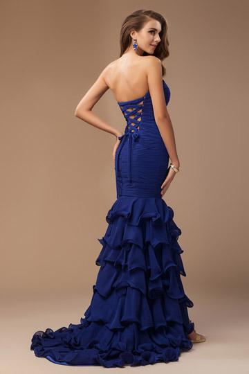 Robe habill e bustier coeur volants en bleu royal for Don de robe de mariage militaire