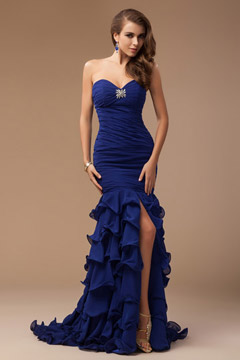 Sweetheart Strapless Tiers Lace Up Blue Evening Dress