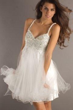 Noble Tulle Sweatheart Sequins Short White Cheap Cocktail Dress