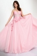 Pink Beaded Sweetheart Tulle Prom Dress