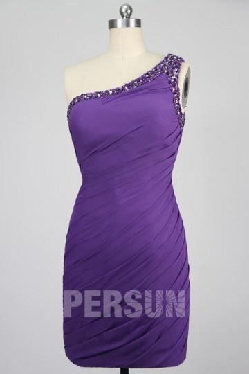 Mini Ein Schulter Cocktailkleid mit Perlen verziert Persun