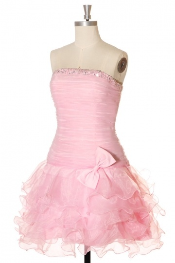 Short Bow Strapless Organza Cocktail Dress