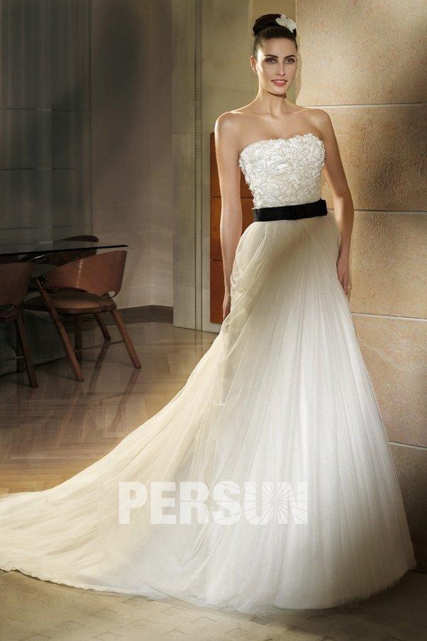de mariée Robe de mariée blanche / ivoire Robe de mariée à A-ligne ...