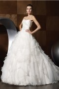 A-line Beaded Ruffle Chapel Train Wedding Dress